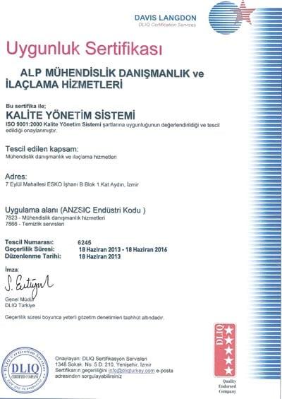 KALİTE SERTİFİKAMIZ ISO - HACCP